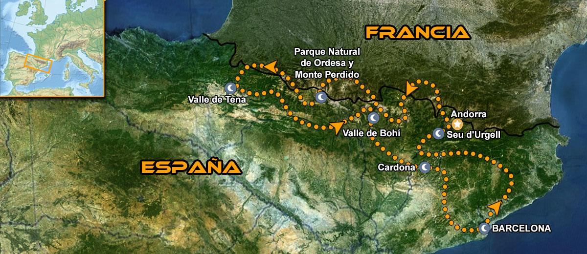 Mapa Tour moto organizado IMTBIKE MotoGP Cataluña