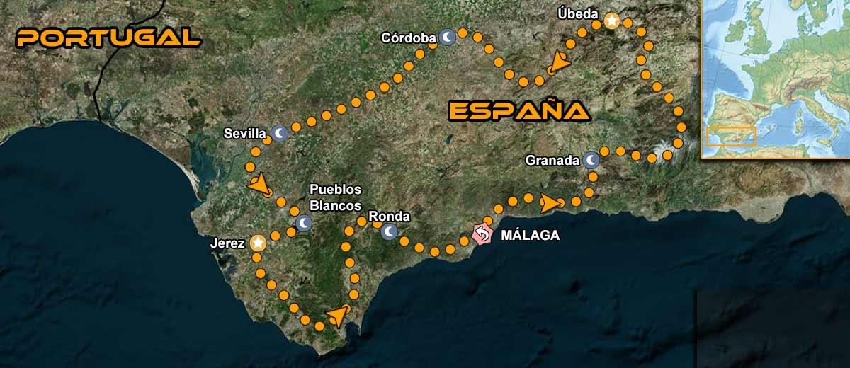 Mapa Viaje organizado moto Europa Andalucia