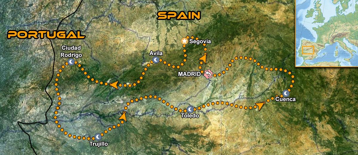 Mapa Viaje organizado moto Europa España Central