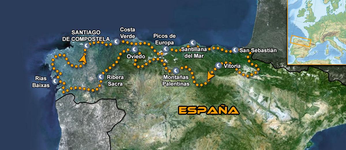 Mapa Viaje organizado moto Europa Norte España Verde