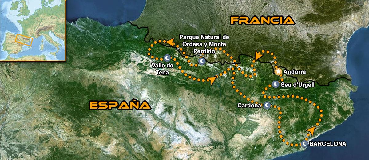 Mapa Viaje organizado moto Europa Pirineos Perfectos