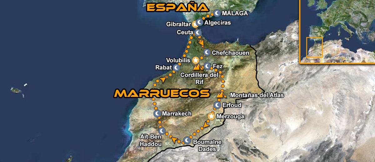 Mapa viaje organizado en moto a Marruecos