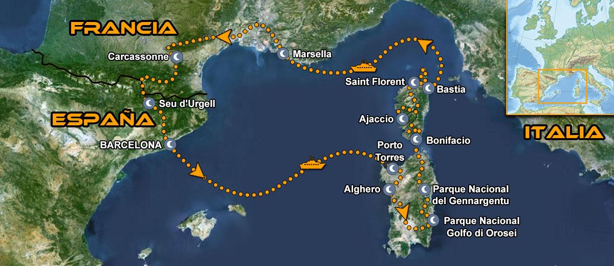 Viaje en moto Corcega y Cerdeña Mapa