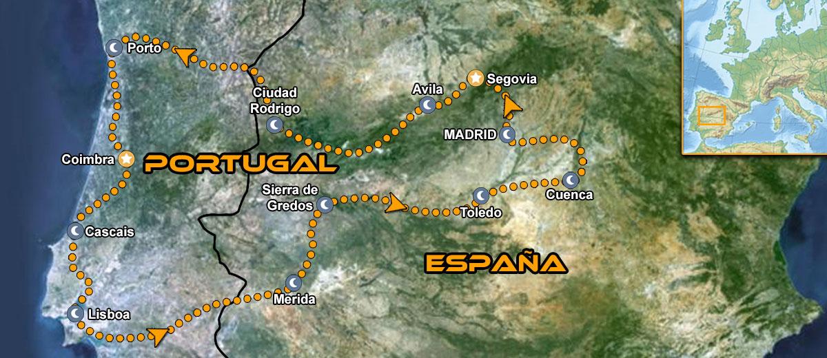 Mapa Ruta organizada en moto Europa España y Portugal IMTBIKE