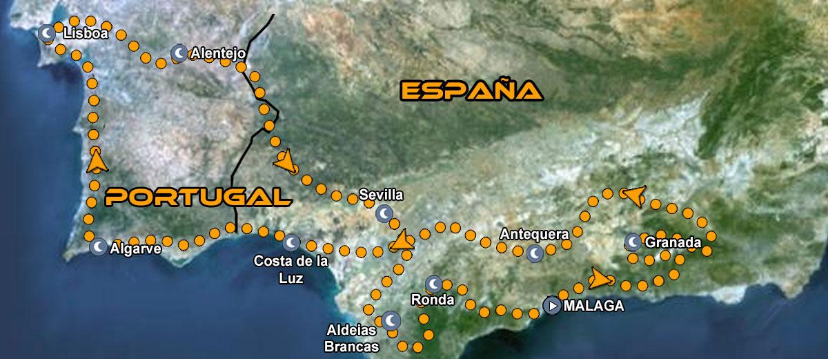 Mapa Ruta organizada en moto Europa Portugal y Sur de España Andalucía IMTBIKE