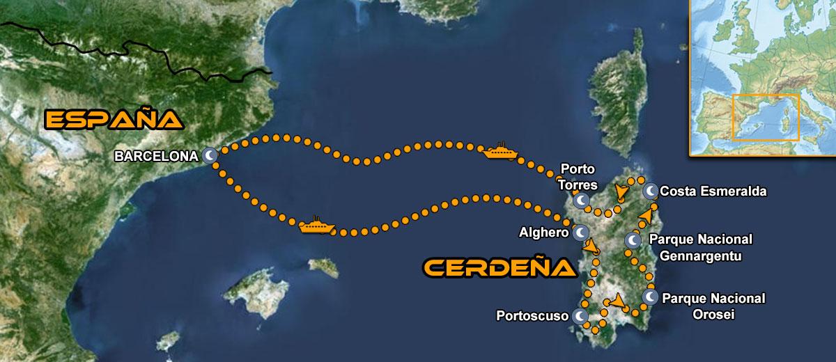Mapa Viaje organizado IMTBIKE por Cerdeña en moto