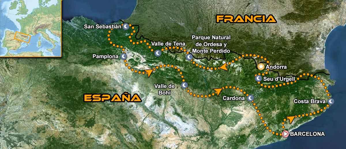 Mapa Viaje organizado moto Europa Pirineos Costa a Costa