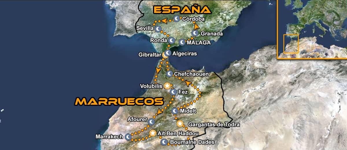 Mapa tour en moto organizado por Marruecos y el sur de Espana