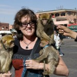 Woman holding monkeys in Marrakesh Djema fnaa square