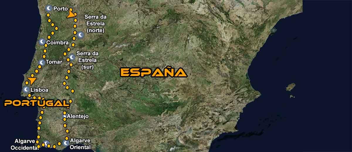 Mapa Ruta organizada por Europa Portugal en moto IMTBIKE
