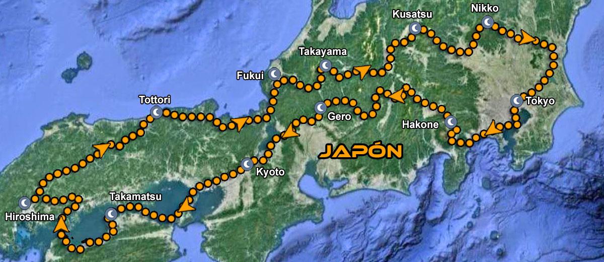 Viaje en moto por Japon IMTBIKE mapa