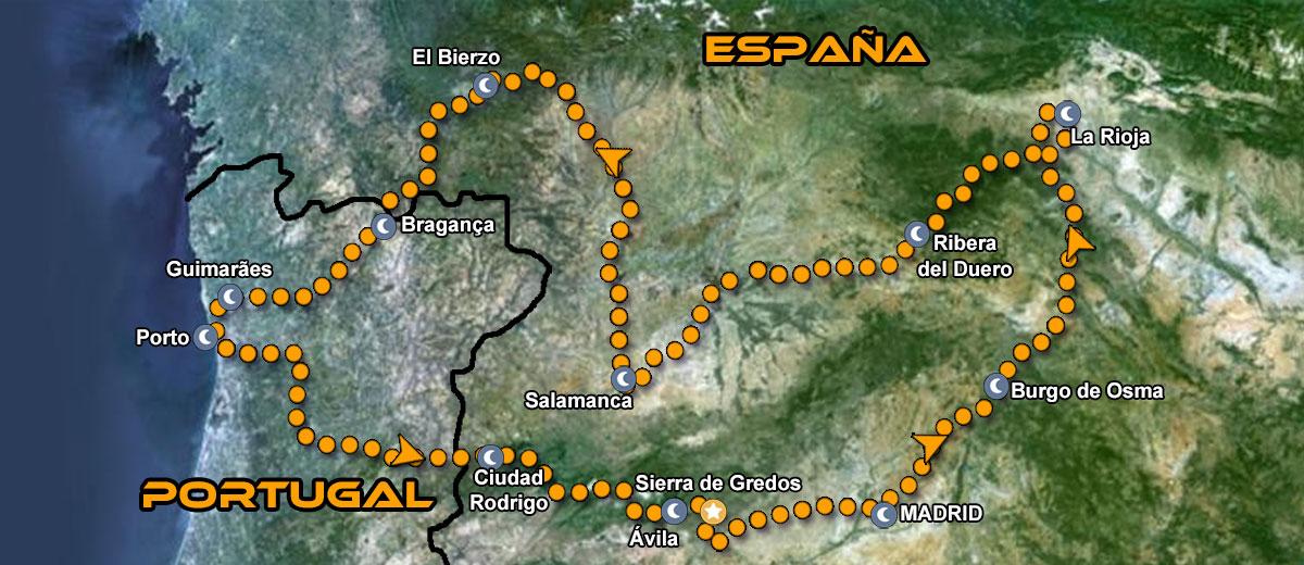 Mapa Ruta organizada en moto Europa Norte de Portugal y España IMTBIKE