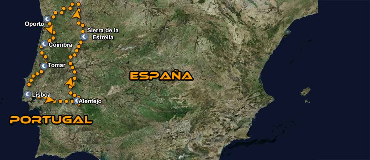 Mapa Ruta organizada en moto Europa Esencia de Portugal