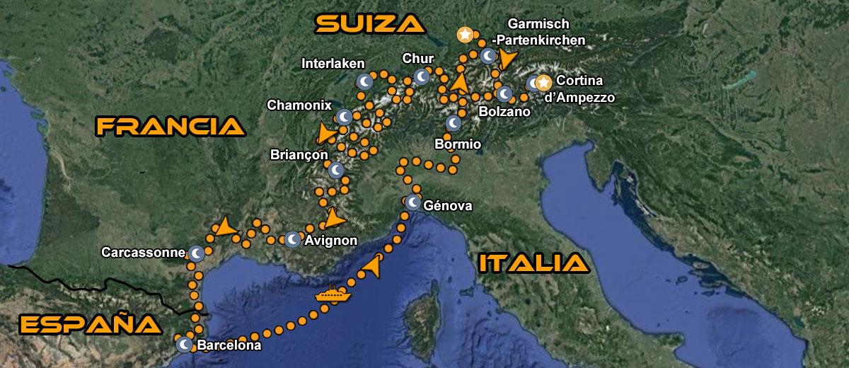 Mapa-Ruta-en-moto-Europa-Garmisch-Alpes-Sur-de-Francia-IMTBIKE